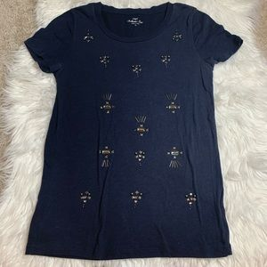 J. Crew Navy Cotton Tee with Stud Detail